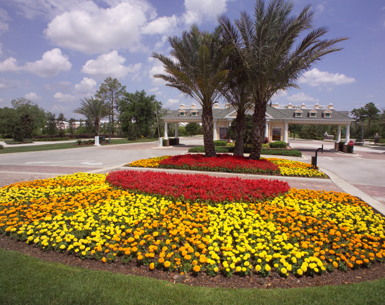 Annual flower planting of front entrance
