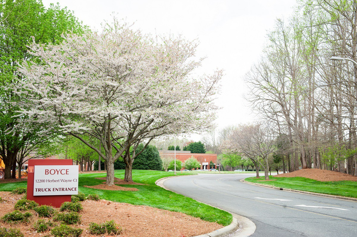 Commercial entrance with clean landscaping