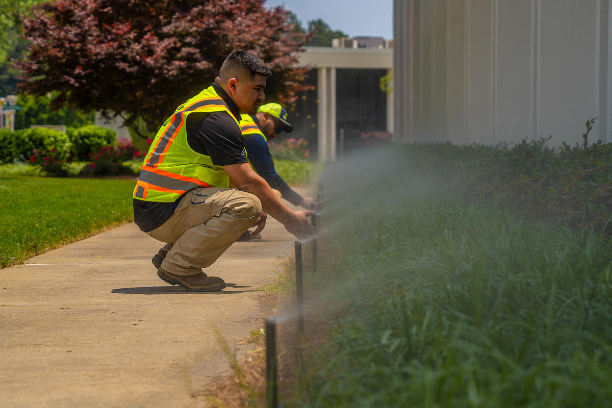 commercial landscaping company winterizes irrigation system