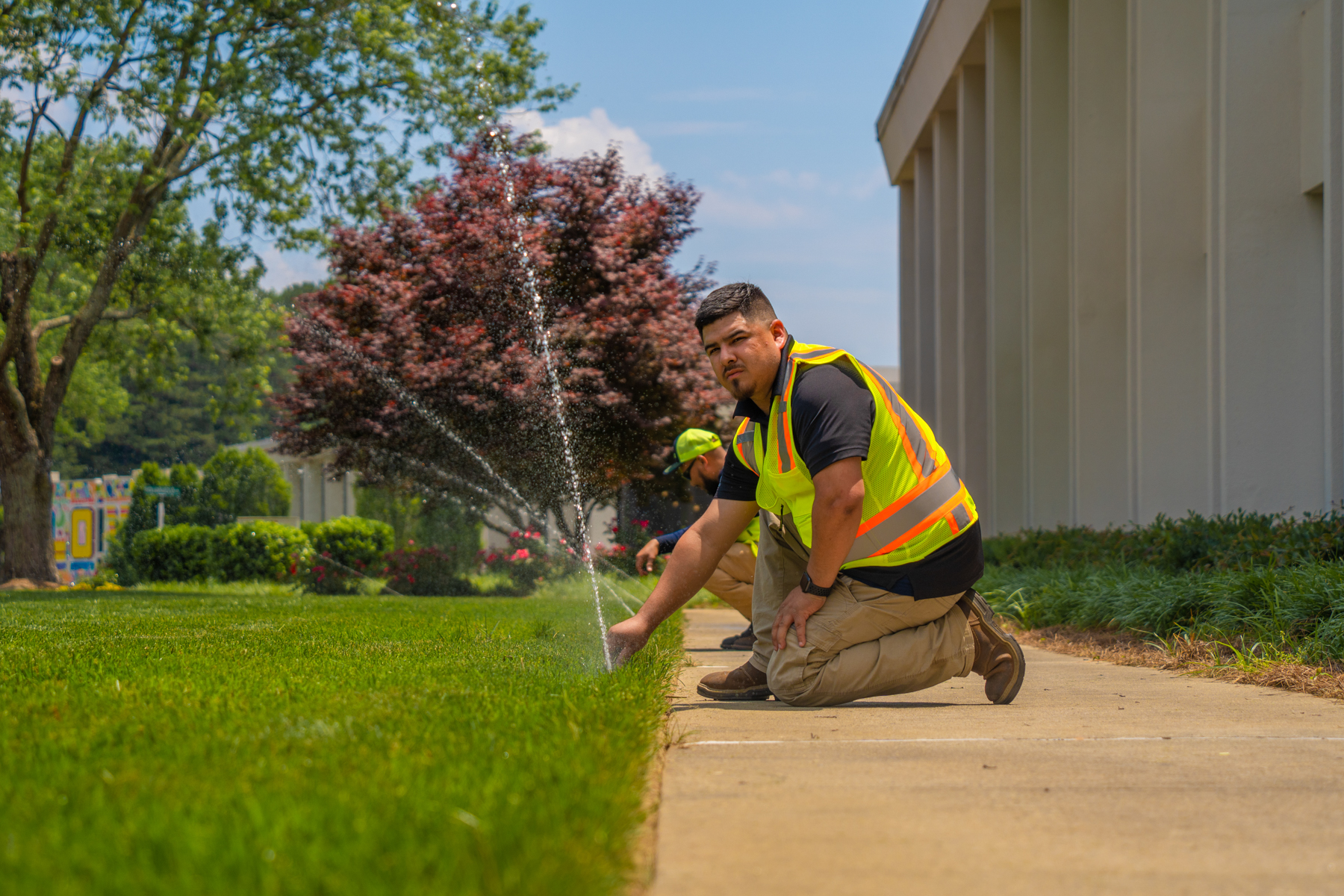 Irrigation crew performing an inspection