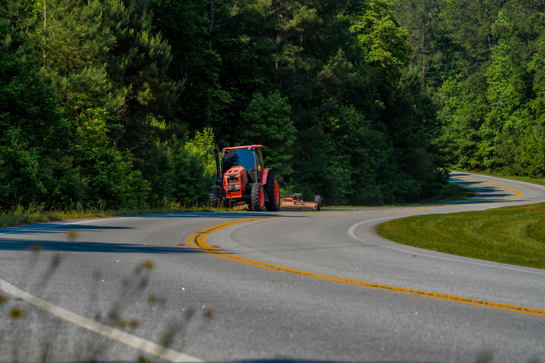 Commercial landscaping roadside mowing