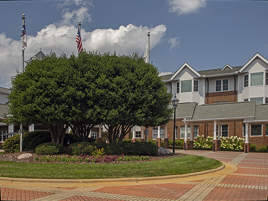Well Spring retirement community entrance landscaping