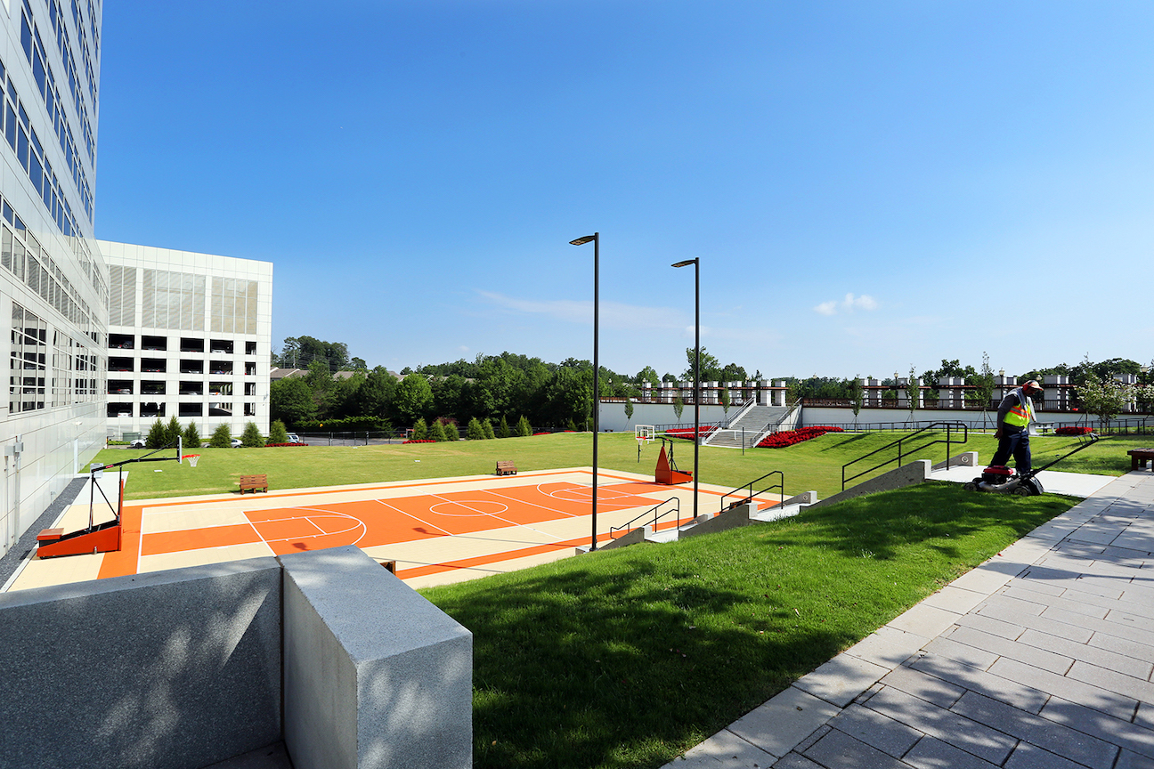 Commercial outdoor basketball court and amphitheater
