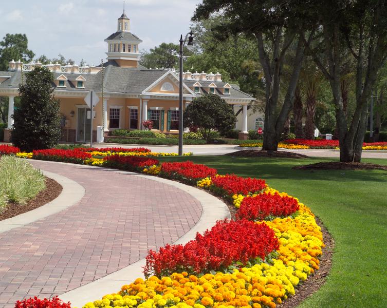 Hotel entrance landscaping