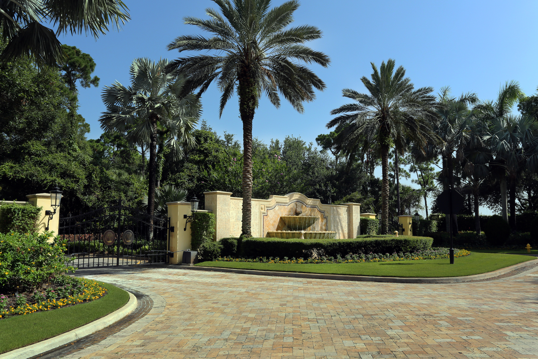 HOA community entrance with professional landscaping