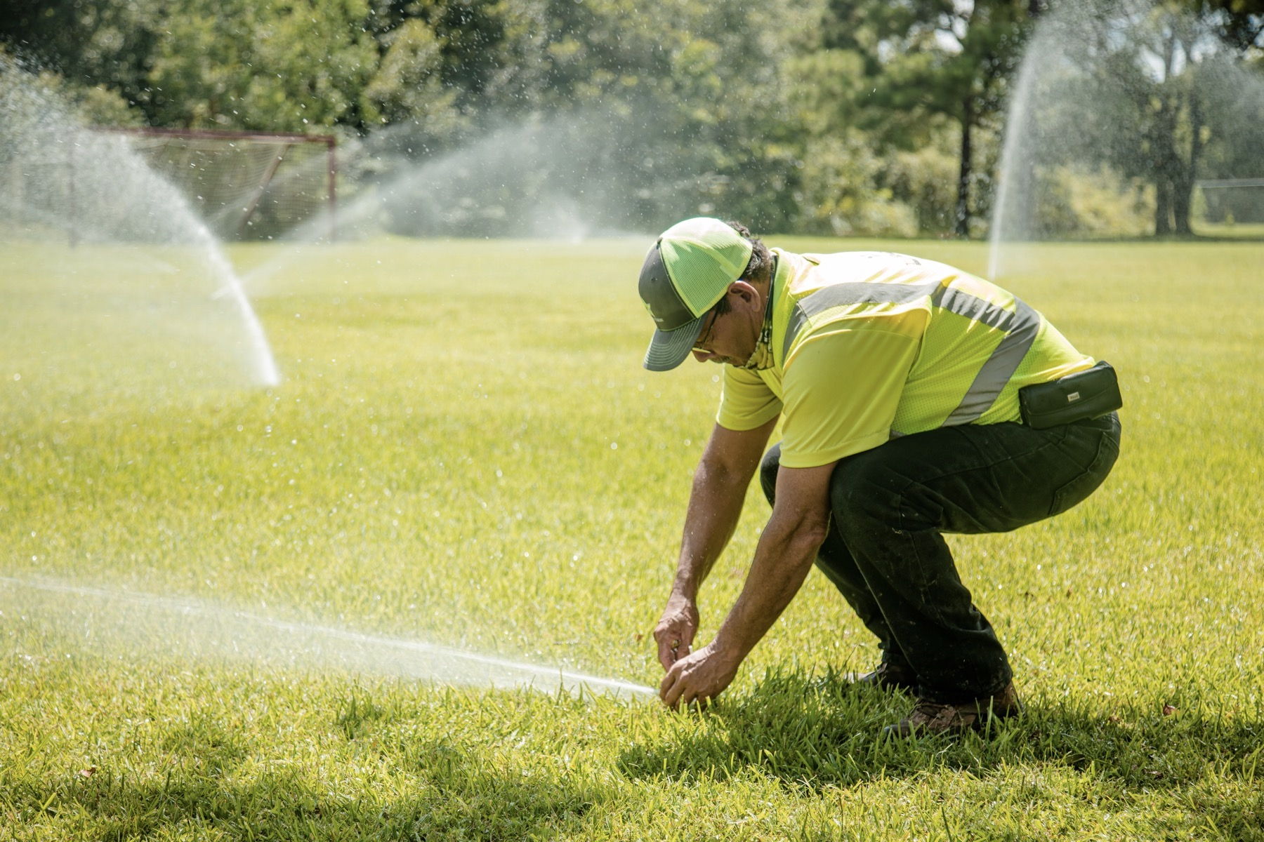 commercial landscaping crew winterize irrigation system