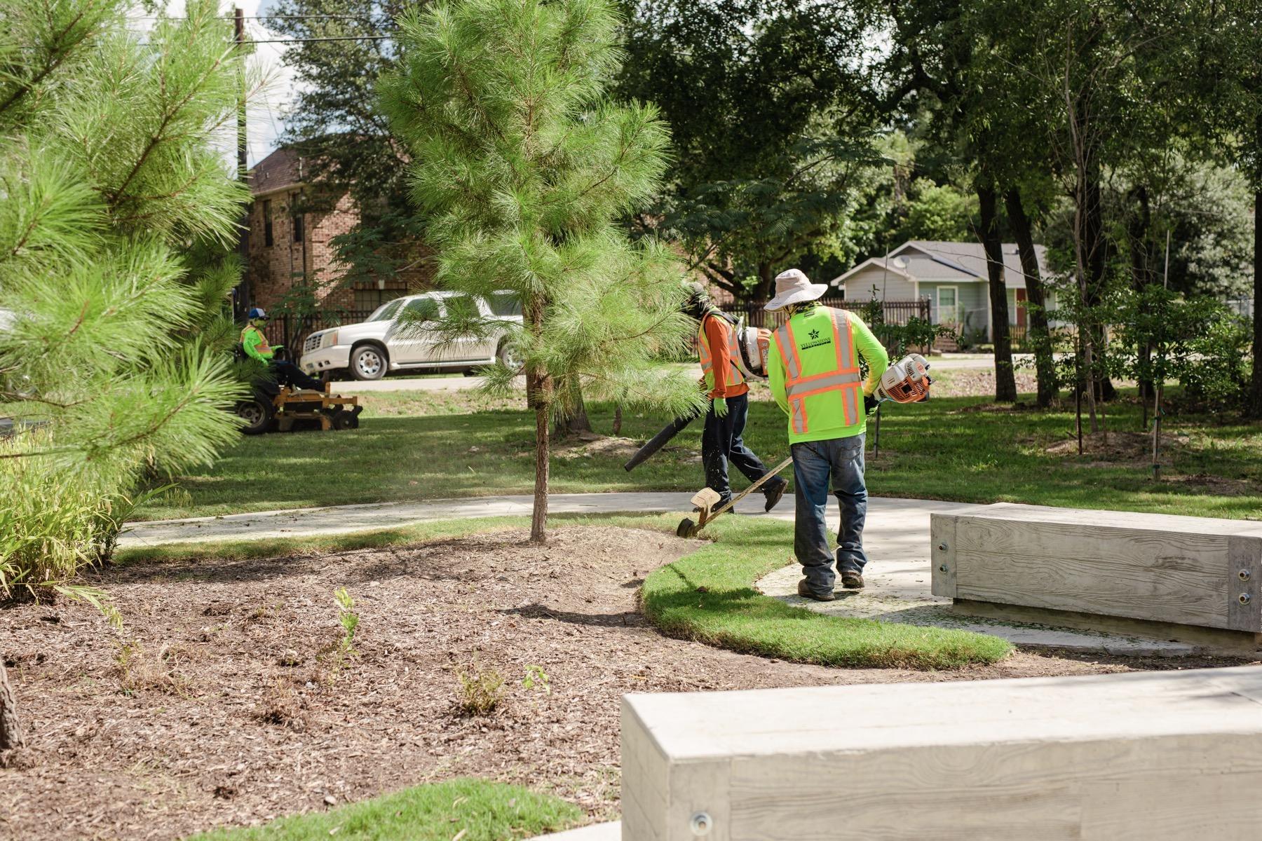 Commercial landscape maintenance crew